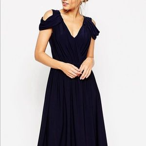 ASOS navy wedding drape cold shoulder midi dress